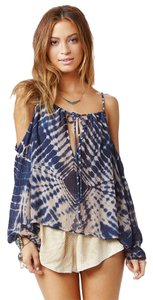 Blue Life Open Shoulder Tie Dye Top Indigo Sand