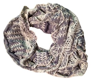 Anthropologie Gray and White Anthropologie Crochet Infinity Scarf