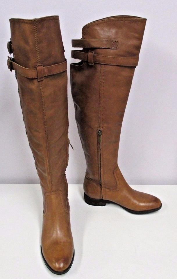 514579b2e89 Sam Edelman Whiskey Distressed Leather Pierce Over The Knee Button Black  Boots Image 6. 1234567