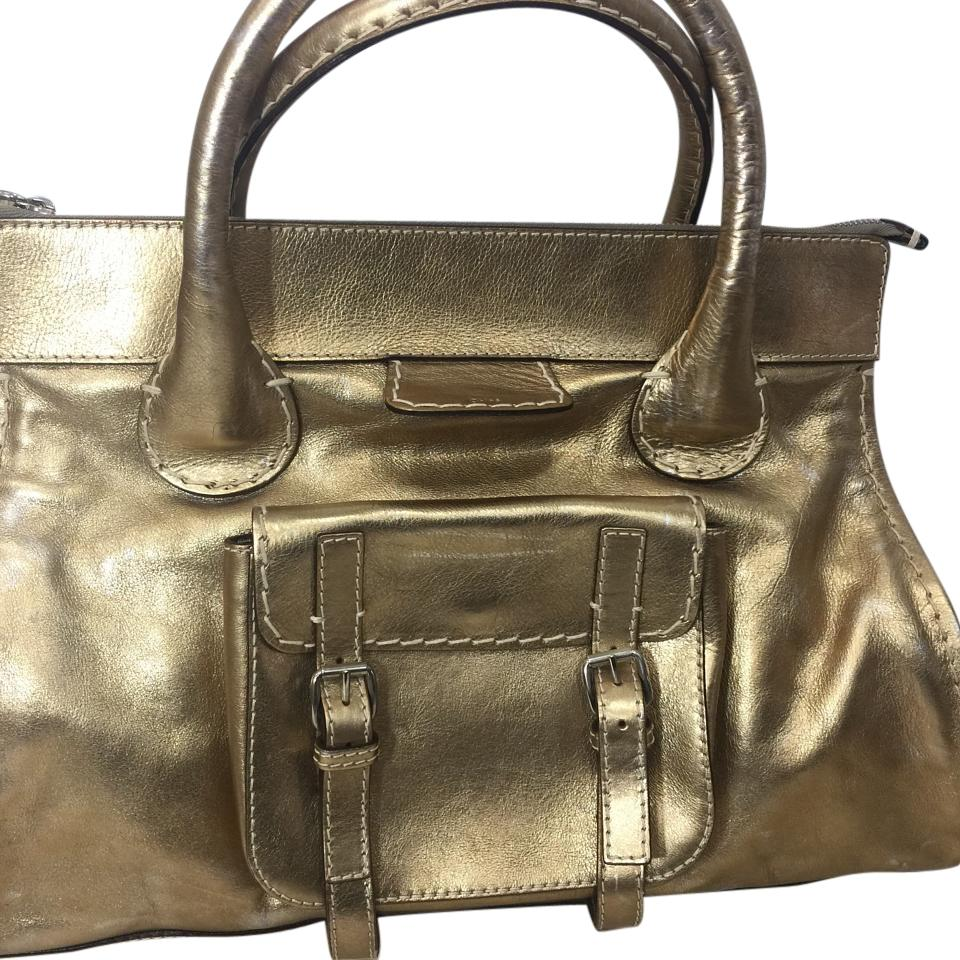 1df33f75bb2e Chloé Edith Xl Vintage Look Gold Leather Satchel - Tradesy