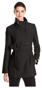 Calvin Klein Wool Double Breasted Basketweave Pea Coat