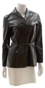 Calvin Klein Collection Leather Leather Chocolate Brown Leather Jacket