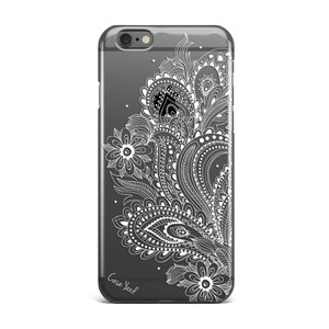 Case Yard NEW Clear Plastic IPhone Case w. White Paisley Flower Design, Size 7+