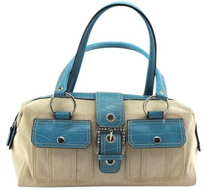Amanda Smith Satchel in Blue, Beige