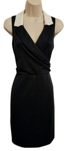 Contrast Faux Wrap Sleeveless Dress