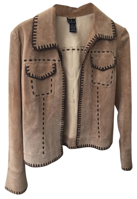 INC International Concepts Beige and Brown Leather Jacket
