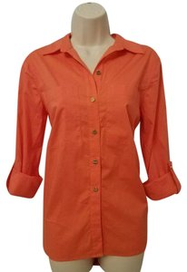 Michael Kors Roll-tab Sleeves Button Down Shirt Orange