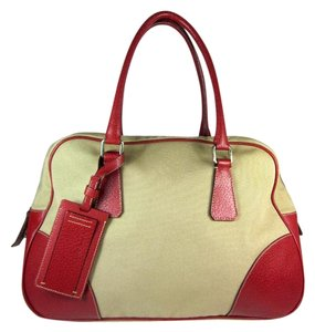 Prada Logo Red Beige Leather Tote in Beige/Red