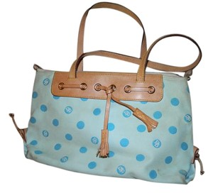 Dooney & Bourke & Tassel Tote Polka Dot Canvas & Leather Shoulder Bag
