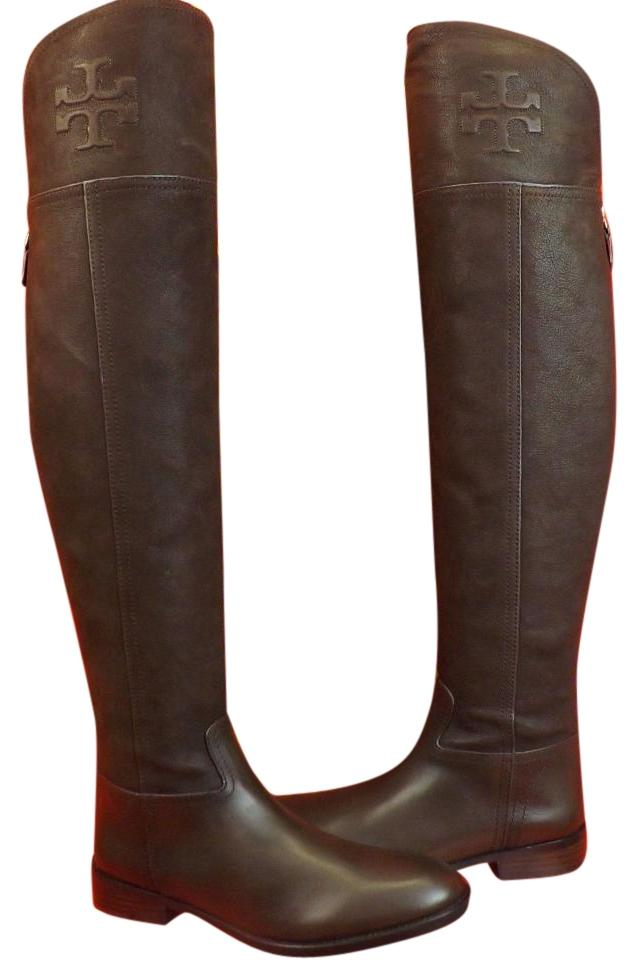 c3a6b2d6829 Tory Burch Chocolate Simone Leather Over The Knee Split Reva Riding ...
