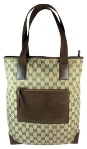Gucci Gg Leather Tote Large Beige Shoulder Bag