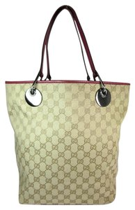 Gucci Gg Leather Tote Beige Red Shoulder Bag