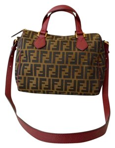 Fendi Zucca Red Leather Satchel in Brown