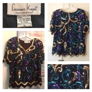 Laurence Kazar Top Black Green Purple Gold