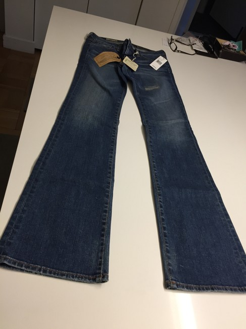 AG Adriano Goldschmied Goldschmied. 27 New Unworn Distressed 5-pocket Angel Boot Cut Jeans-Medium Wash