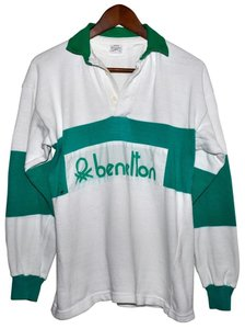 United Colors of Benetton Vintage 80s 1980s Rugby Shirt Button Down Shirt Green