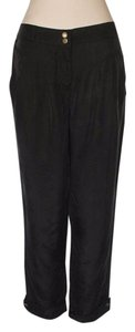Anthropologie Willow & Clay Pleated Relaxed Pants BLACK