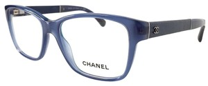 Chanel CHANEL Eyeglasses Blue with Leather Temples