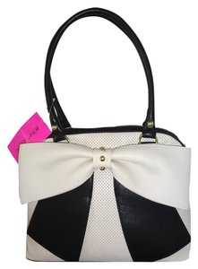 Betsey Johnson Perforated Dome /black Bow Satchel in BONE