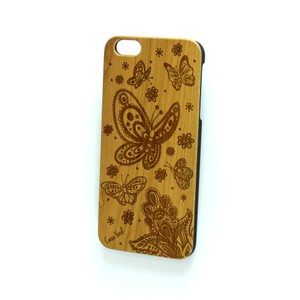 Case Yard NEW Cherry Wood iPhone Case with Butterfly Design, iPhone 7+