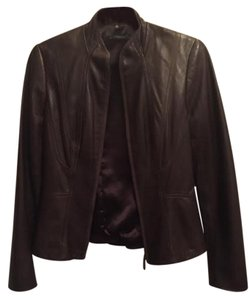 Elie Tahari Leather Textured Edgy Classic Party brown Leather Jacket