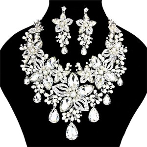 Other Beautiful Glass Stone Crystal Pearl Evening Bridal Wedding Prom Necklace and Earring Set