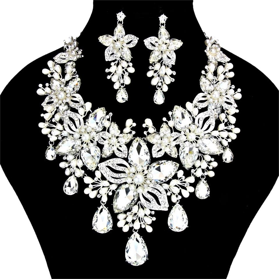 Other Beautiful Gl Stone Crystal Pearl Evening Bridal Wedding Prom Necklace And Earring Set