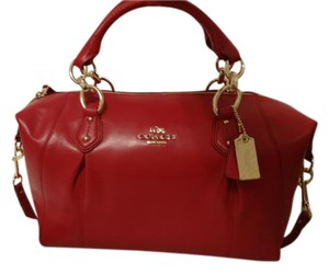 Coach Dust Leather Satchel in Red