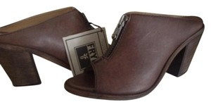 Frye Izzy Moto/zip Leather Charcoal (brown) Mules