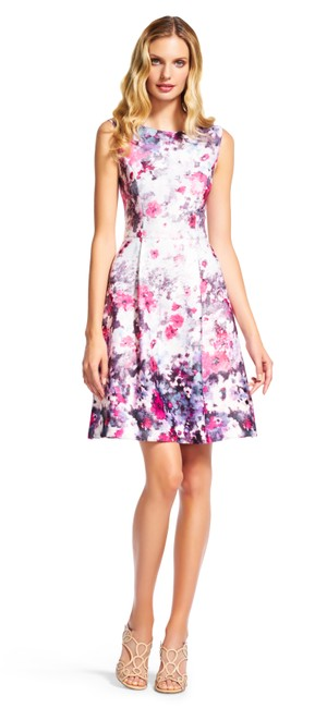 Item - Pink/Purple New Floral Print Bateau Neck Fit and Flare Knee Length Cocktail Dress Size 10 (M)