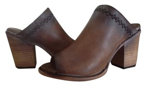FreeBird By Steven Bambi Cognac Leather Distressed Cognac Mules
