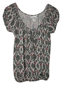 Max Studio Stretchy Peasant Boho Print Top Multi-color