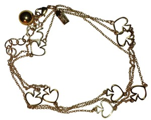 Kate Spade Spade to Spade Station Statement Cutout Card Ball Chain Link 12K Gold