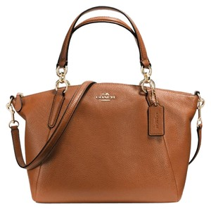 Coach Kelsey Pebbled Leather Satchel in Saddle Brown