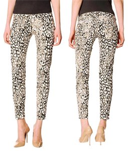 David Kahn Leopard Skinny Ankle Coated Trendy Skinny Jeans-Coated