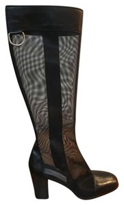 Dolce&Gabbana Sheer Nylon Leather Black Boots