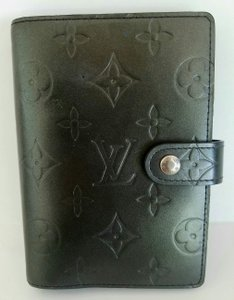Louis Vuitton Black Mat Leather Monogram Agenda PM Ring Binder