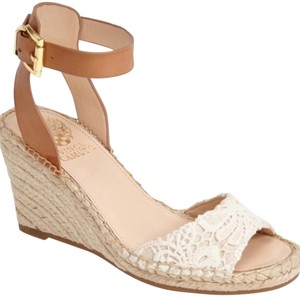 Vince Camuto white tan Wedges
