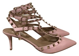 Valentino Rockstud Studded Stiletto Kitten Ankle Strap pink Pumps