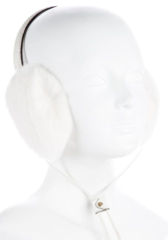 4ee317b3b Gucci White Gold Creme Guccissima Leather Rabbit Fur Earmuffs Hat ...