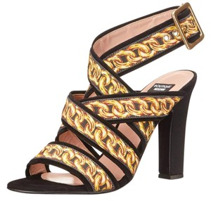 Boutique Moschino Leather Sandal Print Suede Black Platforms