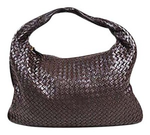 Bottega Veneta Dark Intrecciato Leather Large Veneta Hobo Bag