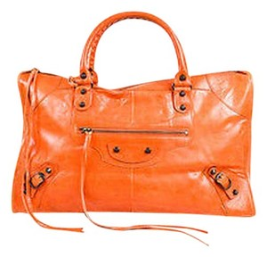 Balenciaga Leather Classic Work Tote in Orange
