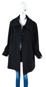 Basler Mohair Wool Blend Hidden Button Down Long Sleeve Overcoat Coat