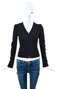 Chanel Camellia Wool Texturized Button Up Long Sleeve Black Jacket