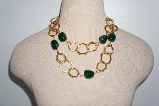 Kenneth Jay Lane Kenneth Jay Lane Gold Chain Necklace with Jade Beads