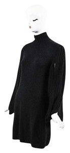 Chanel short dress Gray 07a Dark Cashmere Ribbed Knit Bubble Sleeve Sweater on Tradesy