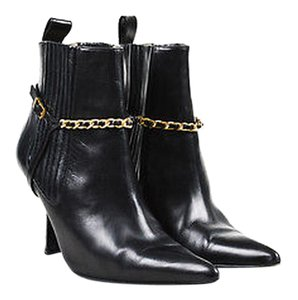 Chanel Leather Gold Black Boots