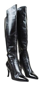 Chanel Leather Patent Leather Pointed Cap Toe Knee High Heel Black Boots