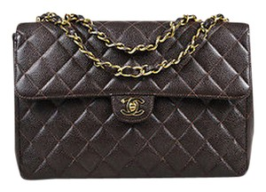 Chanel Gold Tone Caviar Leather Classic Jumbo Single Flap Shoulder Bag